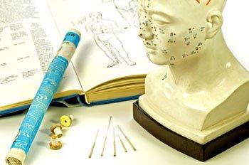 Moxazigarre, Akupunkturnadeln, Meridianpunkte der Akupunktur